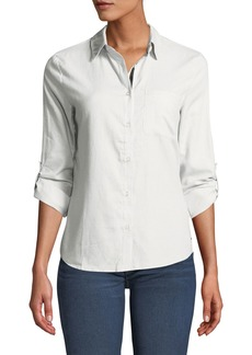 Tahari Classic Button-Down Cotton Shirt
