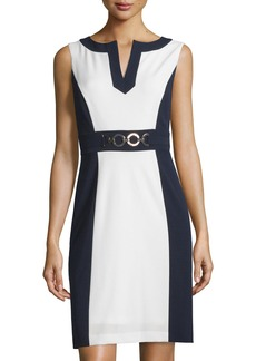 Tahari Colorblock Sleeveless Sheath Dress