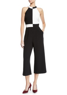 Tahari Colorblocked Halter-Neck Cropped Jumpsuit