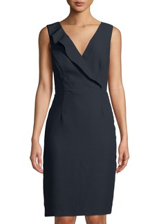 Tahari Crepe-Back Satin V-Neck Dress
