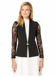 Tahari Crepe Long Sleeve Lace Jacket