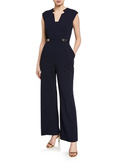 Tahari Crepe Notch Neck Jumpsuit