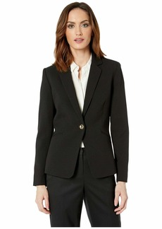 Tahari Crepe One-Button Long Sleeve Jacket