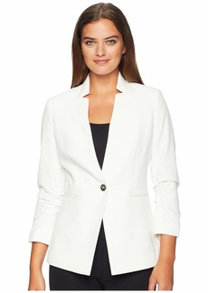 Tahari Crepe One-Button Rouched Sleeve Jacket