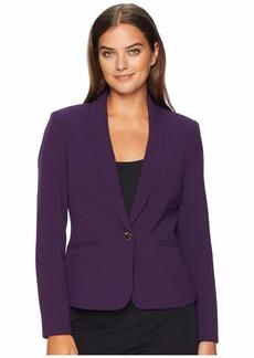Tahari Crepe One-Button Shawl Collar Jacket