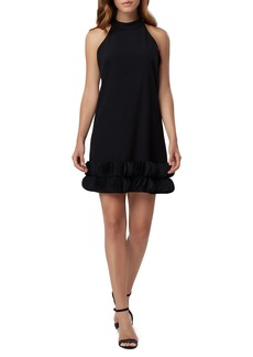 Tahari Crepe Scalloped-Hem Halter Dress