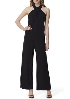 Tahari Crisscross Halter-Neck Wide Leg Jumpsuit