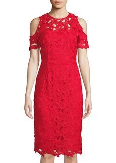 Tahari Crochet Lace Cold-Shoulder A-Line Dress  Red