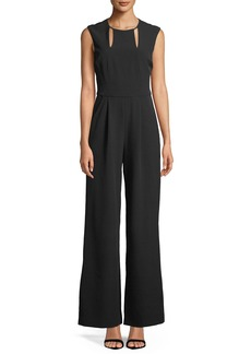 Tahari Cutout-Neck Crepe Jumpsuit