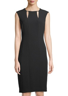 Cutout-Neck Crepe Sheath Dress