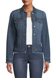 Tahari Denim Trucker Fringe-Hem Jacket