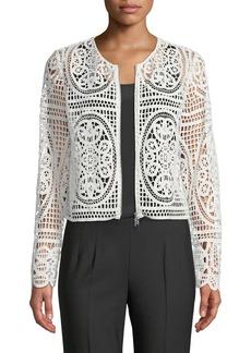 Tahari Diane Crochet Lace Zip-Front Jacket