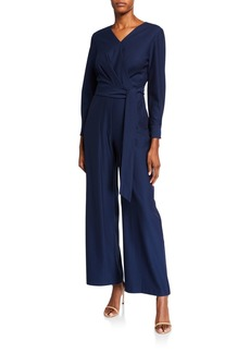 Tahari Dobby Long-Sleeve Wide-Leg Jumpsuit