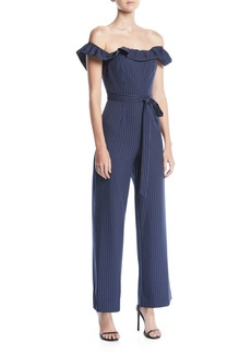 Tahari Dolly Off-The-Shoulder Striped Jumpsuit
