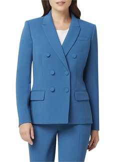 Tahari Double-Breasted Pebble Crepe Jacket