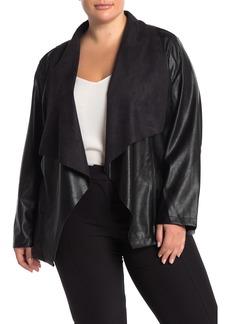 Tahari Draped Faux Leather Jacket (Plus Size)
