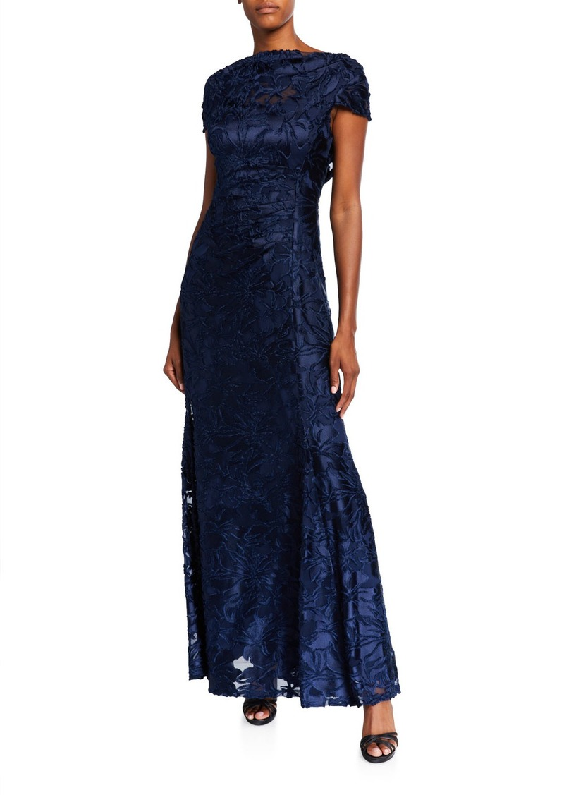 Tahari Draped Ruched Burnout Lace Gown