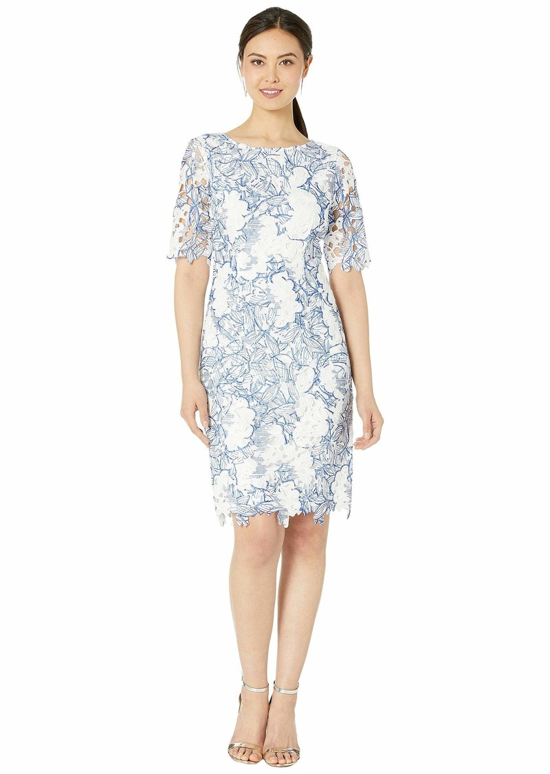 Tahari Elbow Sleeve Corded Chemical Lace Dress