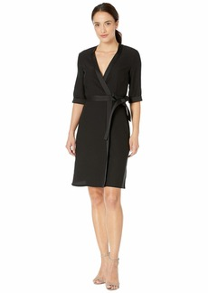 Tahari Elbow Sleeve Mock Wrap Crepe Dress