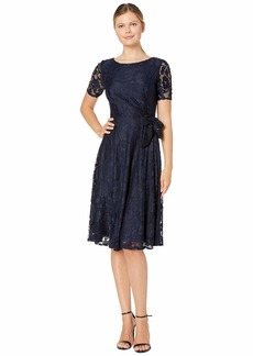 Tahari Elbow Sleeve Stretch Lace Dress w/ Side Shirring