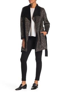 Tahari Ella Double Face Leopard Print Coat