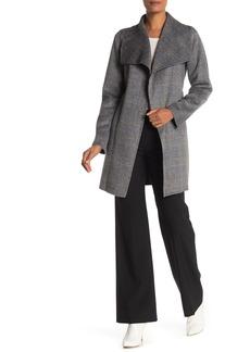 Tahari Ella Novelty Plaid Print Wool Blend Coat
