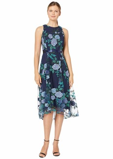 Tahari Embroidered Floral Mesh Dress w/ Ribbon Sash