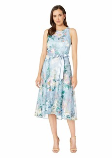 Tahari Embroidered Floral Midi Length Halter Dress