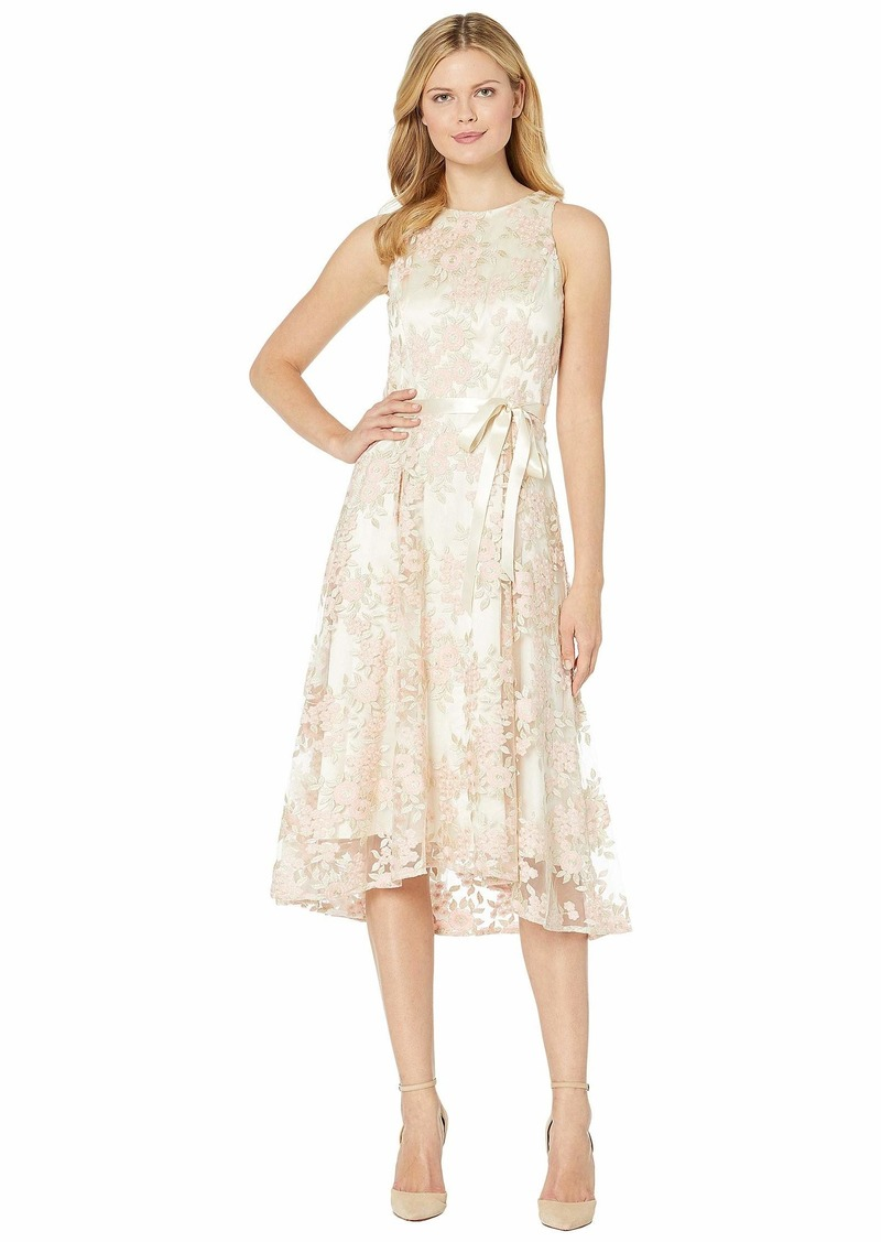 Tahari Embroidered Mesh Midi Dress