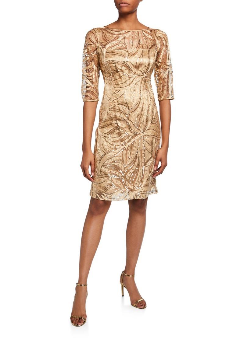 Tahari Embroidered Sequin Elbow Sleeve Mesh Dress