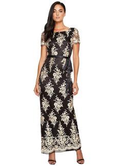 Tahari Embroidered Sheath Gown