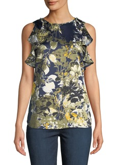Tahari Emiliana Ruffle-Shoulder Floral Blouse