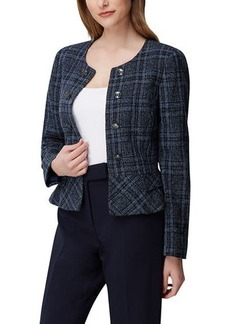 Tahari Faux Double Breasted Peplum Tweed Jacket