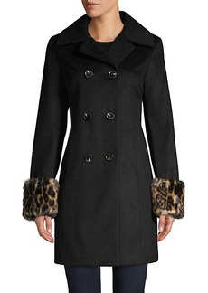 Tahari Faux Fur Cuffs Wool-Blend Double-Breasted Coat