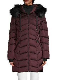 Tahari Faux Fur-Trim Chevron Puffer Down Coat