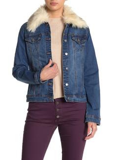 Tahari Faux Fur Trim Collar Denim Jacket