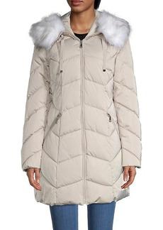 Tahari Faux Fur-Trim Hooded Chevron Puffer Coat