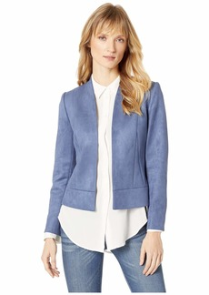 Tahari Faux Suede Jacket with Seam Detail