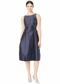 Tahari Fit and Flare Mikado Dress with Scattered Pearls