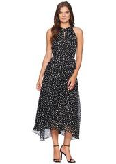 Tahari Flocked Dot Midi Chiffon Dress