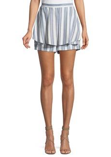 Tahari Flora Striped Tiered Shorts