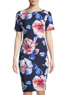 Tahari Floral-Crepe Short-Sleeve Sheath Dress