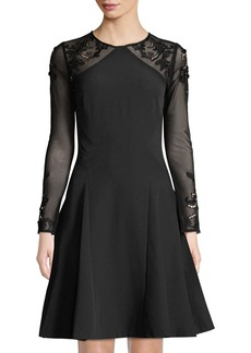 Tahari Floral Embroidered Mesh Detail Fit-and-Flare Dress