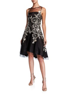 Tahari Floral Embroidered Mesh High-Low Dress