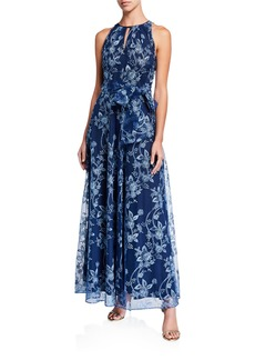 Tahari Floral Embroidered Waist Tie Dress
