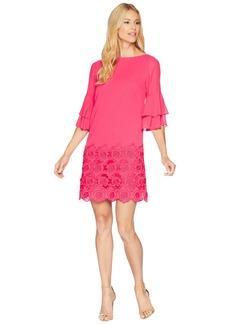 Tahari Floral Hem Chiffon Shift Dress