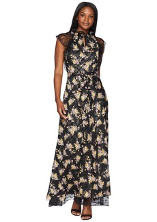 Tahari Floral High Neck with Lace Sleeve A-Line Gown