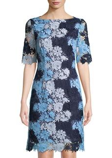 Tahari Floral Lace Short-Sleeve Sheath Dress
