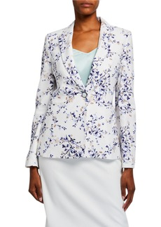 Tahari Floral One-Button Peak Lapel Jacket