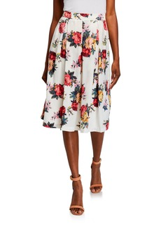 Tahari Floral Pleated Midi Skirt